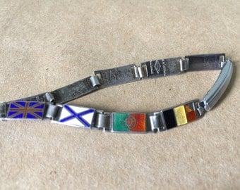 Sterling Silver Enameled Bracelet with Flags of World War 1 Allied Countries. JMF Co Bracelet. WW1 Memorobilia