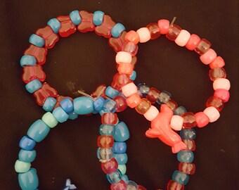 Cotton Candy colored Kandi bracelets