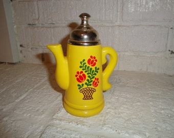 VINTAGE yellow teapot avon bottle