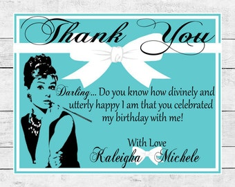Audrey Hepburn Breakfast at Tiffany's Thank You Card
