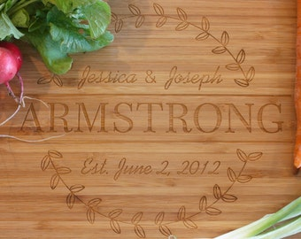 Cutting Board Custom Personalized Laser Engraved  Name & Date  Emblem