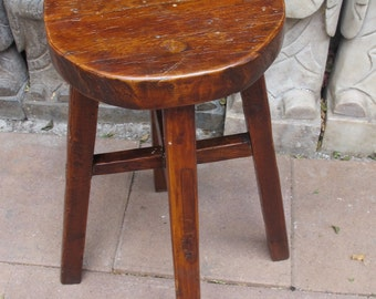Antique Round Wood Stool