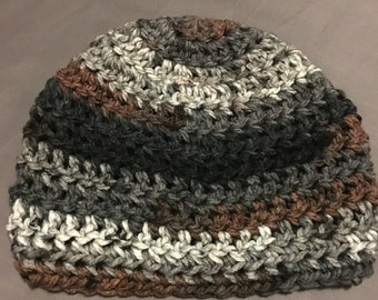 Brown-Gray-Black Beanie Hat