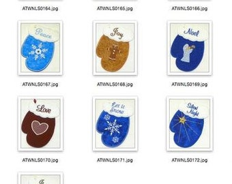 Holiday Gift Card Mitten Ornaments NLS   ( 10 Machine Embroidery Designs from ATW )