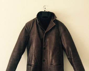 Leather vintage coat men
