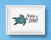Sea Turtle Art - Turtle Watercolor Art Print - Sea Turtle Decor - Nautical Wall Art - Nursery room - Watercolor art - Bathroom Art Print