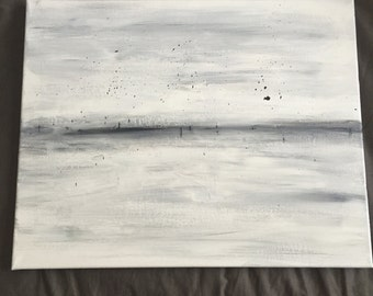 "Abstract acrylic landscape painting on canvas, ""Mist"", neutral"