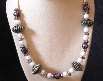 """20"""" Beaded Necklace (Pink - Purple - Antique Gold Colours) (PH10)"""