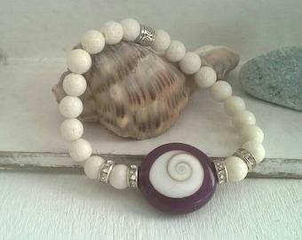 Bracelet ⭐ white coral ⭐ Shiva eye