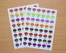 Cute MUSHROOMS stickers, various colors, 2 sheets of 96 stickers, 1.2 x 1.2 cm., shiny, sparkle, reflective, metallic gold border (S-16)