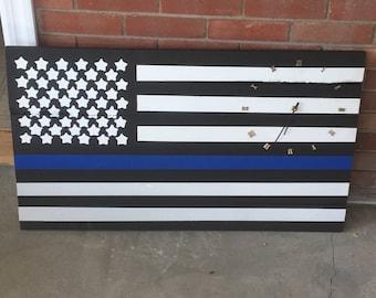 Thin Blue Line Police Flag Clock/Fireman/service