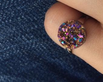 Druzy ring/ drusy/ drusy ring/ magenta pink druzy/ adjustable ring/ druzy/ pink druzy/ druzy resin ring/ faux druzy