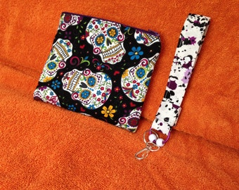 New Homemade Pouch with matching Wristlet Key Fob - Paisley Skulls