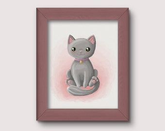 Cat Nursery Print, wall print, nursery decor, cute digital art with Instant Download