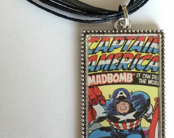 Comic Book Captain America  Necklace/ Marvel