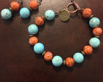 Turquoise and orange bracelet and earring