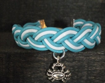 Braided leather strap light blue and white with crab