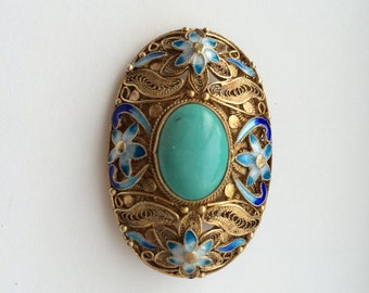 Filigree brooch/pendant with turquoise