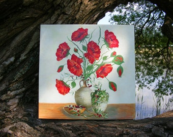 A painting of poppies in a one copy