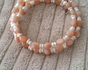 Peach and Pearl Gemstone Memory Wire Bracelet