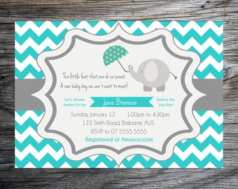 Teal Chevron Baby Shower Invite - Baby Boy