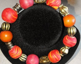 Clay and wooden bead bracelet