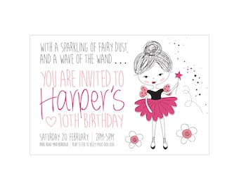Kids Birthday Printed SPUNKY FAIRY Invitations + Envelopes. Great Quality! Matching party bags available.