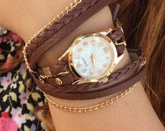 Leather wrap wrist watch