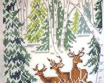 Idyllic Embroidered and Cross Stitch Deer in Forest Scene