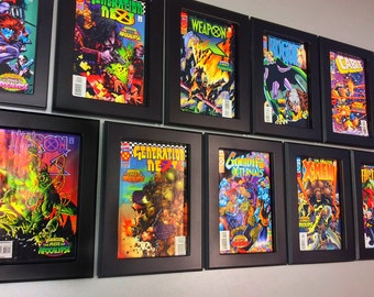 Box of Ten Hand Made comic book frames, Black Lacquer.