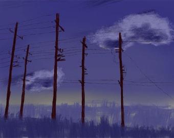 Telephone poles on a purple sky - photo print