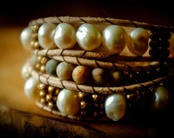 Three Wrap Bracelet - Pearls, Crazy Lace Agate and Miyuki Baroque beads