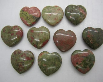 "Bulk 1""(25X7MM) Unakite Pocket Hearts - 10 PC. LOT"
