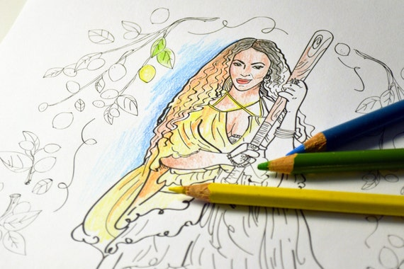 beyonce lemonade adult coloring sheet printable art print rh etsy com Beyonce Lemonade Booklet Beyonce Lemonade Booklet