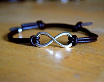 Infinity Bracelet, Leather Bracelet, Adjustable, Large Antique Silver Infinity Charm, Leather, Infinite Love, Friendship