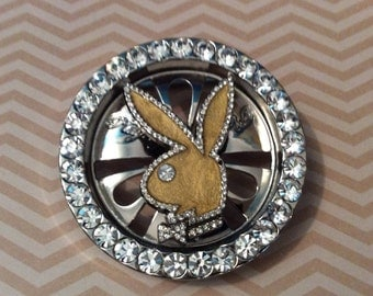 Vintage Signed PLAYBOY rhinestone belt buckle with rotating bunny head