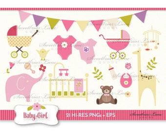 Baby Girl Clipart for invitations, stationery, scrapbooking, stickers and many more!