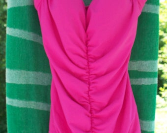 Vintage Maxine of Hollywood one piece swimsuit, ruched front, Pink, size 12
