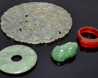 Chinese Hardstone Carvings Ornaments Jade Carnelian 4 Items