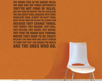 Steve Jobs Quote Here's To The Crazy One's Wall Decal
