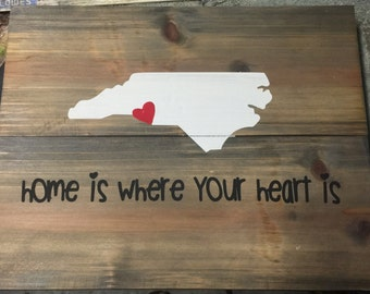 """Repurposed wood """"Home is Where Your Heart is"""" sign"""
