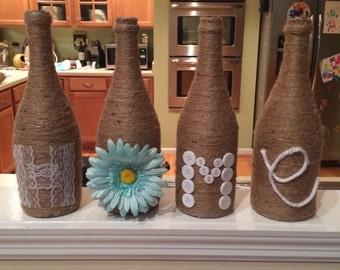 Burlap wine bottle-home