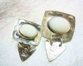 Vintage Sterling South Western Mother of Pearl Clio on Earrings