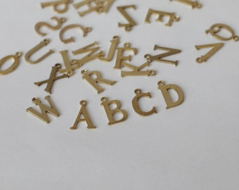 15mm initial Charm, Brass Letter charms, brass letter, Can Add to necklace or bangle, Personalized Initial Charm