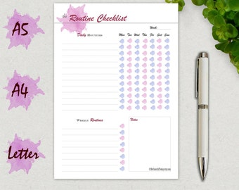 Routine Chart, Daily, Morning Routine Checklist, A5, A4, Letter Size, Printable Planner Page, Chore Chart, Daily, Weekly, Bedtime Routine A5
