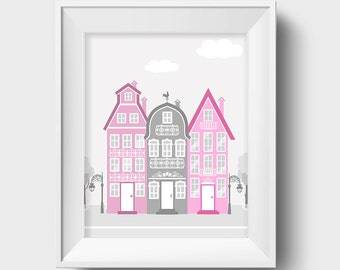 Girl Nursery Art City Print Girl Nursery Decor Baby Girl Nursery Pink Gray
