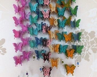 Butterfly mobile, butterfly garland, hanging butterflies, butterfly decor, wedding mobile, wedding butterfly decor