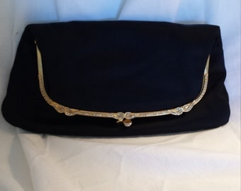 1950's Ingber Black Satin Clutch