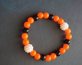 Orange and Black Beaded Bracelet Ft. Rhinestone Accent Beads