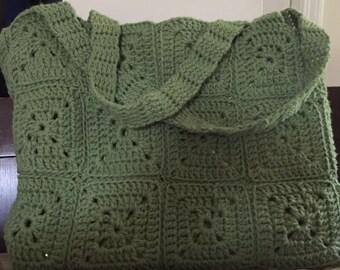 Handmade crochet granny square bag